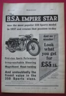 1938  BSA EMPIRE STAR MOTOR CYCLE ORIGINAL MAGAZINE ADVERT - Advertising