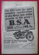 1938  BSA 250 O.H.V. MOTOR CYCLE ORIGINAL MAGAZINE ADVERT - Advertising