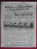1924  BAL-LON-ETTE CORD TYRES.  ORIGINAL MAGAZINE ADVERT - Sonstige