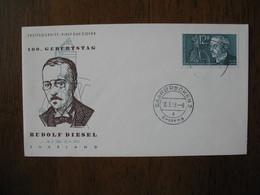 FDC  1958 Sarre N° 414 Centenaire Naissance Rudolf Diesel - FDC