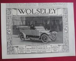 1913 WOLSELEY TORPEDO PHAETON  MOTOR CAR. ORIGINAL MAGAZINE ADVERT - Sonstige