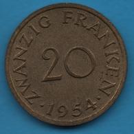 SAARLAND SARRE 20 FRANKEN 1954 KM# 2 - Saar