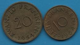 SAARLAND SARRE LOT 10 + 20 FRANKEN 1954 - Saar