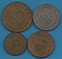SAARLAND SARRE LOT 10 + 20 + 50 + 100 FRANKEN 1954-1955 - Saar