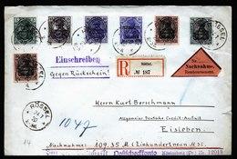 A6122) Allenstein R-NN-Rückscheinbrief Rössel 24.07.20 N. Eisleben - Abstimmungsgebiete