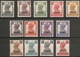 INDIA - NABHA 1943 SET SG 105/117 VERY LIGHTLY MOUNTED MINT Cat £65 - Nabha