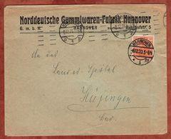 Drucksache, Norddeutsche Gummiwaren-Fabrik Hannover, Germania, Nach Huefingen 1920 (72446) - Briefe U. Dokumente
