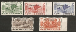 NEW HEBRIDES 1953 POSTAGE DUE SET SG FD 92/ FD 96 UNMOUNTED MINT/VERY LIGHTLY MOUNTED MINT Cat £75 - Postage Due