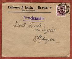 Drucksache, Lutherer & Laske Breslau, Germania, Nach Huefingen 1921 (72448) - Briefe U. Dokumente