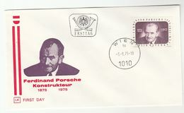 1978 Austria FDC  Ferdinand PORSCHE Birth Centenary Cover Car Engineer - Cars