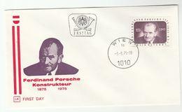 1978 Austria FDC  Ferdinand PORSCHE Birth Centenary Cover Car Engineer - FDC