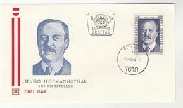 1974 Austria FDC  Hugo HOFMANNSTHALL Birth Centenary Cover  Theatre Poetry Literature - Theatre