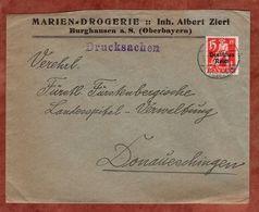 Drucksache, Marien-Drogerie Burghausen, Bayern-Abschied, Nach Donaueschingen 1921 (72457) - Briefe U. Dokumente