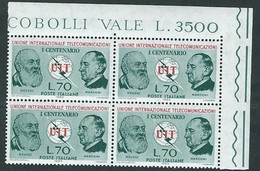 Italia 1965; UPU: Unione Internazionale Telecomunicazioni; Quartina D' Angolo Superiore. - 6. 1946-.. Republik
