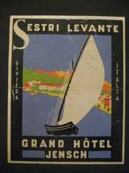 ETICHETTA ETIQUETTE GRAND HOTEL JENSCH SESTRI LEVANTE RIVIERA ITALIA BARCA A VELA - Hotel Labels