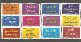 France: Full Set Of 12 Used Stamps, Greeting, 2011, Mi#5202-5213 - Francia