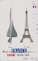 RARE Télécarte Japon / 110-89053 - AVION - CONCORDE & TOUR EIFFEL - PLANE AIRLINES Japan Phonecard - FLUGZEUG -  2245 - Avions
