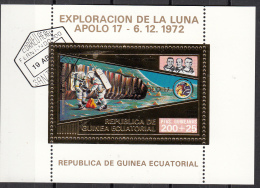 Bf. 65 Guinea Equatoriale 1973 Apollo 17 Gold Art Sheet Astronauti Evans Cernan Schmitt Perf. Ecuatorial - Guinea Equatoriale