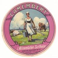 Etiquette De Fromage Camembert L'alimentation Sarthoise Desché Buchet Le Mans Sarthe - Quesos