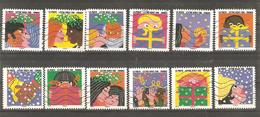 France: Full Set Of 12 Used Stamps, Greetings, 2015, Mi#6281-6292 - Francia