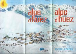 DEPLIANT TOURISTIQUE ALPE D'HUEZ ISERE FRANCE STATION OLYMPIQUE GRENOBLE 1968 - 6 VOLETS VERSO = CARTE - Dépliants Touristiques