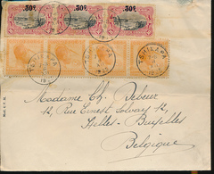 BELGIAN CONGO 1922 ISSUE VLOORS ISSUE COVER FROM TSHIKAPA 08.12.1925 TO BRUSSELS - 1894-1923 Mols: Lettres