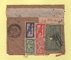 Indochine - Saigon - Etiquette De Colis Familial Gratuit 3kg Riz - Visa Douane - Recommande - Indochina (1889-1945)