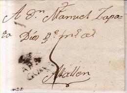 Prefilatelia Año 1791 Carta De Zaragoza A Mallen  Marcas Nº13 Aragon - ...-1850 Vorphilatelie