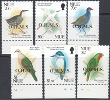 Niue 1993 - Official Stamps: Birds, Incl. Pacific Pigeon And Kingfisher - Golden O.H.M.S. Overprint Mi 20-25 ** MNH - Niue