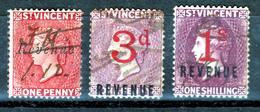 St.VINCENT  QV  3  X  USED  REVENUES - Ceylon (...-1947)