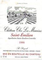 Etiquette (8,9X12) Château CLOS LES MAURINS 1990 Saint Emilion B Pargade Propriétaire à St Sulpice De Faleyrens 33 - Bordeaux