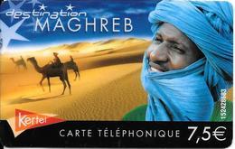 CARTE PREPAYEE-KERTEL-7.5€-MAGHREB-V° Blanc -N°sur Fond Blanc T BE- - France