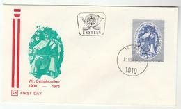 1975 Austria FDC  CELLO VIENNA SYMPHONY ORCHESTRA Anniv Music Stamps Cover - Music