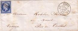 PARIS - N°14 OBLITERATION LOSANGE  - PARIS A2 (60) A2  - LE 21-7-1861 - PETITE ENVELOPPE - Marcophilie (Lettres)