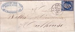 PARIS - N°14 OBLITERATION LOSANGE CS1  - CACHET PARIS C1 ('60)  C1 - LE 13-6-1861 - Marcofilia (sobres)