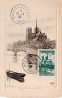 CARTE MAXIMUM  PARIS   NOTRE DAME   (TRES RARE  ET  CONCORDANTE) - Vacances & Tourisme