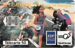 CARTE-PUCE-PRIVEE-PUBLIC- 50U-EN818a-SC7-12/93-EDF-TRIATHLON-V° N°0620-Utilisé-TBE- - France