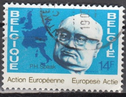 Belgique 1978 COB 1887 O Cote (2016) 0.45 Euro Paul Henri Spaak Homme D'Etat Cachet Rond - Belgique