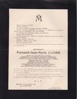 Aéro Club Royal De Belgique Fernand JACOBS 57 Ans 1926 Aéronautique Météorologie Familles LEQUIME Et MOTTE - Décès