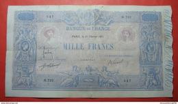 FRANCE 1000 Francs 1911 Blue Et Rose, No Parts Missing, Some Tears And Pinholes As Usual. VERY RARE - 1871-1952 Anciens Francs Circulés Au XXème