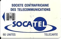 CARTE-PUCE-CENTRE AFRIQUE-60U-SC7-SOCATEL-BLEU-V°N°Rge C5B155083-TBE - Centrafricaine (République)