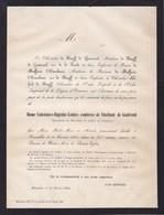 GOEGNIES-CHAUSSEE Constance Comtesse De VINCHANT De GRONTROEUL Veuf De KNIJFF 75 Ans 1865 De MOFFARTS - Décès