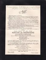 GAND AKKERGEM Fernand KERVYN De MEERENDRE Capitaine-commandant De Cavalerie époux BETTONVILLE 1886-1942 - Décès