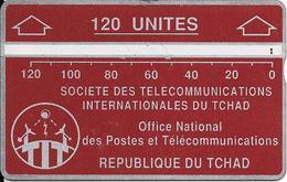 CARTE MAGNETIQUE-TCHAD-120U-ROUGE -GRENAT--V° N° En Bas A Droite Inversé 611C83390-TBE - Tsjaad