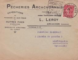 PECHERIES ARCACHON-ENVELOPPE CIRCULEE 1927 GIRONDE A MONTPELIER, BANDELETA PARLANTE - BLEUP - France