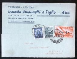 ARCO - TRENTO - 1949 - TIPOGRAFIA EMANUELLI - COMMERCIALE CON BELLA AFFRANCATURA TRICOLORE - Trento