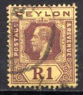 CEYLAN - (Colonie Britannique) - 1912-13 - N° 195 - 1 R. Brun S. Jaune - (George V) - Ceylon (...-1947)