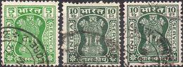 INDIA 1967 - PILASTRI DI ASHOKA - 3 VALORI USATI - Usati