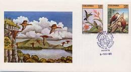 Lote 1675-6F, Colombia,1985, SPD-FDC, Ave, Colibri, Humming Bird - Colombia