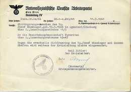 Ostmark; Schreiben Der NSDAP / Gau Wien Betr. Einbürgerung; 1941; Wasserzeichen ! - Documents Historiques